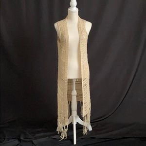 Altar'D State Tan Crochet Kimono Vest